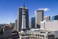 Indianapolis - Circa March 2017: Indianapolis Downtown Skyline from Monument Circle on a Sunny Day IV Stock Photos