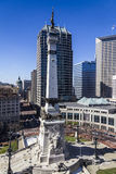 Indianapolis - Circa March 2017: Indianapolis Downtown Skyline from Monument Circle on a Sunny Day V Stock Image