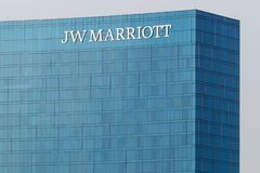 Indianapolis: Circa March 2019: JW Marriott Hotel. The JW Marriott is a Worldwide Chain of Luxury Hotels I. JW Marriott Hotel. The JW Marriott is a Worldwide royalty free stock image