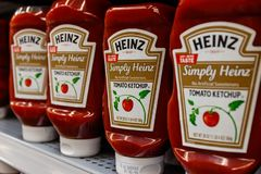 Kraft Heinz branded ketchup. Kraft Heinz is the fifth largest food company in the world I. Indianapolis - Circa March 2019: Kraft Heinz branded ketchup. Kraft royalty free stock photos