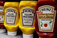 Kraft Heinz branded mustard and ketchup. Kraft Heinz is the fifth largest food company in the world II. Indianapolis - Circa March 2019: Kraft Heinz branded stock image