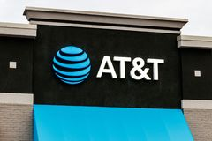 AT&T Retail cell phone and mobility store. AT&T wrapped up its merger with WarnerMedia and now controls HBO and CNN V royalty free stock photography