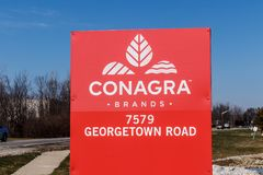 Indianapolis - Circa mars 2018: ConAgra brännmärker produktionsanläggningen ConAgra gör över 60 märken av mat II royaltyfri foto