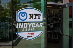 IndyCar logo at Indianapolis Motor Speedway gift shop. IMS Prepares for the Indy 500 VI. Indianapolis - Circa May 2019: IndyCar logo at Indianapolis Motor royalty free stock photography