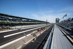 The Pagoda and frontstretch at Indianapolis Motor Speedway. IMS Prepares for the Indy 500 IX. Indianapolis - Circa May 2019: The Pagoda and frontstretch at royalty free stock image