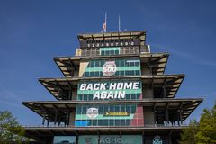 The Pagoda at Indianapolis Motor Speedway. IMS Prepares for the Indy 500 VII royalty free stock photography