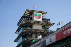 The Pagoda at Indianapolis Motor Speedway. IMS Prepares for the Indy 500 VIII. Indianapolis - Circa May 2019: The Pagoda at Indianapolis Motor Speedway. IMS royalty free stock image