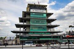 The Pagoda at Indianapolis Motor Speedway. IMS Prepares for the Indy 500 XV. Indianapolis - Circa May 2019: The Pagoda at Indianapolis Motor Speedway. IMS stock photo