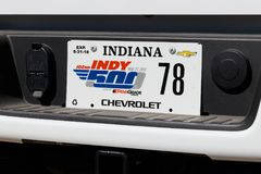 Indianapolis - Circa May 2018: Special license plate commemorating the Indy 500 at Indianapolis Motor Speedway X. Special license plate commemorating the stock photography