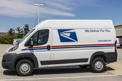 Indianapolis - Circa May 2017: USPS Post Office Mail Trucks. The USPS is Responsible for Providing Mail Delivery III. USPS Post Office Mail Trucks. The USPS is Royalty Free Stock Photos
