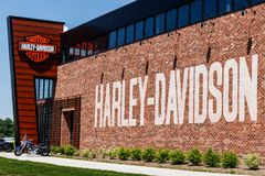Indianapolis - Circa Mei 2018: Harley-Davidson Local-het handel drijven Harley Davidsons Motorcycles is Gekend voor Hun Volgend V Royalty-vrije Stock Afbeeldingen