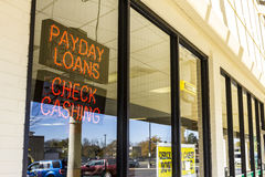 Indianapolis - Circa November 2016: Check Into Cash Consumer Location. Check Into Cash is a payday loan company II. Check Into Cash Consumer Location. Check Into stock photos