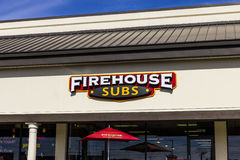 Indianapolis - Circa November 2016: Firehouse Subs fast casual restaurant. Firehouse specializes in hot submarine sandwiches II. Firehouse Subs fast casual Stock Images