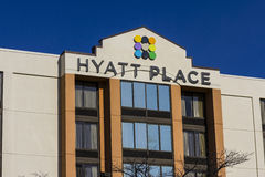 Indianapolis - Circa November 2016: Hyatt Place Business Hotel. Hyatt properties include hotels and vacation resorts I. Hyatt Place Business Hotel. Hyatt stock photography