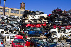 Indianapolis - Circa November 2015 - A Pile of Stacked Junk Cars Stock Images