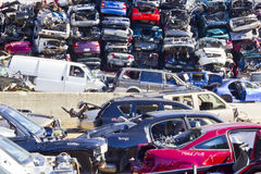 Indianapolis - Circa November 2015 - A Pile of Stacked Junk Cars Royalty Free Stock Photography