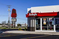 Indianapolis - Circa October 2016: Arby's Retail Fast Food Location. Arby's operates over 3,300 restaurants I. Arby's Retail Fast Food Location. Arby's operates Stock Photos