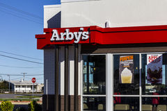 Indianapolis - Circa October 2016: Arby's Retail Fast Food Location. Arby's operates over 3,300 restaurants II. Arby's Retail Fast Food Location. Arby's operates Royalty Free Stock Photos