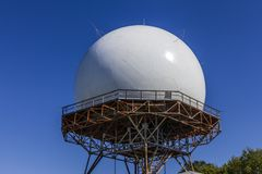 Indianapolis - Circa October 2017: FAA Air Traffic Control Doppler Radar Dome. ATC Radar tracks all airborne flights in the US I. FAA Air Traffic Control Doppler stock image
