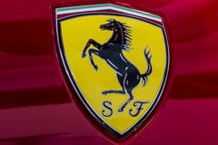 Indianapolis - Circa October 2016: Ferrari Logo on a 458 Spider. Ferrari is an Italian sports car manufacturer I Stock Photography