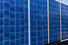 Indianapolis - Circa October 2017: Mobile Photovoltaic Solar Panels on trailers. The ultimate in portable and emergency power II Royalty Free Stock Photos