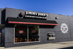 Indianapolis - Circa Oktober 2016: Gastronomisch de Sandwichrestaurant van Jimmy John Jimmy John is gekend voor hun levering II Royalty-vrije Stock Foto