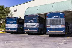 Indianapolis - Circa September 2017: Greyhound Buses. Greyhound offers Inter-City Service to over 2,700 Destinations II Stock Photo