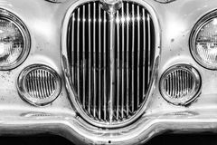 Indianapolis - Circa September 2017: Grille from a classic 60s Jaguar 3.8 S I Stock Photography