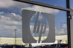 Indianapolis - Circa September 2016: Hewlett-Packard Logo at the entrance of a warehouse. HP is an IT company I Royalty Free Stock Image
