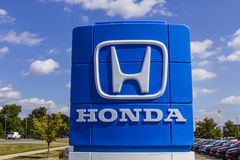 Indianapolis - Circa September 2017: Honda Motor Co. Logo and Sign VIII. Honda Motor Co. Logo and Sign. Honda Manufactures Among the Most Reliable Cars in the Stock Image