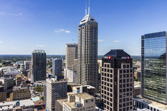 Indianapolis - Circa September 2016: Indianapolis Downtown Skyline on a Sunny Day II Royalty Free Stock Image