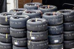 Indianapolis - Circa September 2018: Sets of Goodyear Eagle NASCAR Racing tires III royalty free stock images