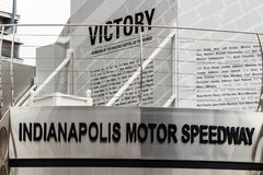 Indianapolis - Circa September 2018: Victory Circle at Indianapolis Motor Speedway. IMS is home to the Indy 500. Victory Circle at Indianapolis Motor Speedway stock photography