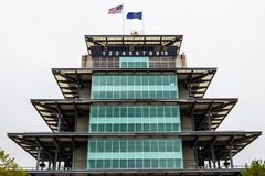 Indianapolis - circa settembre 2018: La pagoda a Indianapolis Motor Speedway fotografia stock