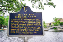 Indianapolis city canal and bridge Royalty Free Stock Photo