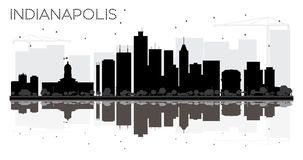 Indianapolis City skyline black and white silhouette with reflec Royalty Free Stock Images