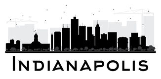 Indianapolis City skyline black and white silhouette. Stock Photography