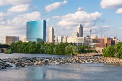 Indianapolis City Skyline. Along the White River royalty free stock photo