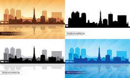 Indianapolis city skyline silhouette set. Vector illustration Stock Image