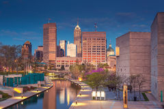 Indianapolis. Cityscape image of downtown Indianapolis, Indiana during twilight blue hour royalty free stock photo