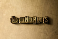 INDIANAPOLIS - close-up of grungy vintage typeset word on metal backdrop Royalty Free Stock Photography