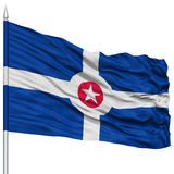 Indianapolis Flag on Flagpole, Waving on White Background Royalty Free Stock Photo