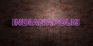 INDIANAPOLIS - fluorescent Neon tube Sign on brickwork - Front view - 3D rendered royalty free stock picture Royalty Free Stock Photo