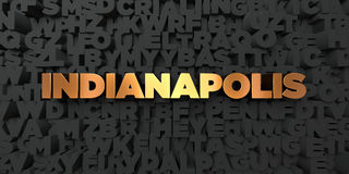 Indianapolis - Gold text on black background - 3D rendered royalty free stock picture Royalty Free Stock Images