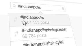 Indianapolis hashtag search through social media posts. 3D rendering. Indianapolis hashtag search through social media posts Stock Image