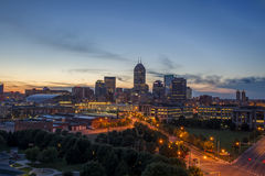 Indianapolis Indiana At Dusk. Indianapolis, Indiana at dusk on a summer night Royalty Free Stock Photos