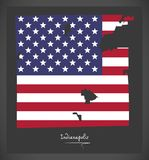 Indianapolis Indiana map with American national flag illustratio. Indianapolis Indiana map with American national flag Royalty Free Stock Image