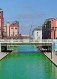 Downtown Indianapolis Canal dyed green for the St Patrick's Day Royalty Free Stock Photo