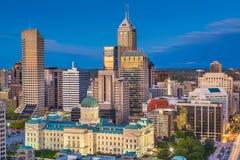Indianapolis, Indiana, usa linia horyzontu przy zmierzchem zdjęcia royalty free