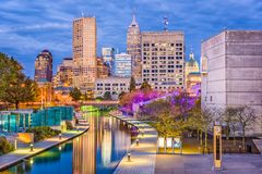 Indianapolis, Indiana, USA. Skyline and canal Royalty Free Stock Photos